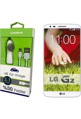 Case Man LG G2 Araç Şarj Cihazı Adaptör + Data Kablosu Hızlı Şarj Özellikli