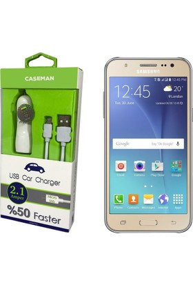 Case Man Samsung J5 Araç Şarj Cihazı Adaptör + Data Kablosu Hızlı Şarj Özellikli