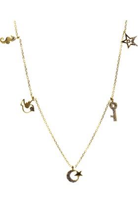 Tesbihcizadem 14 Ayar Altın Kolye,Şans Kolyesi 1595