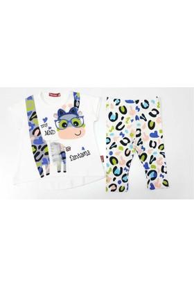 Minidon Fantasia Zürafa Kısa Kollu Taytlı Kız Bebek Takımı Yeşil