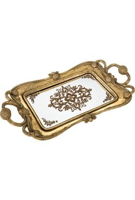 Vitale Frank İşlemeli Gold Dekoratif Cam Tepsi