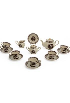 Vitale 17 Parça Kahverengi İşlemeli Çay Seti
