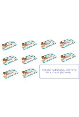 Bebedor Pudra Kokulu Islak Havlu 56'lı x 10 (560 Adet)