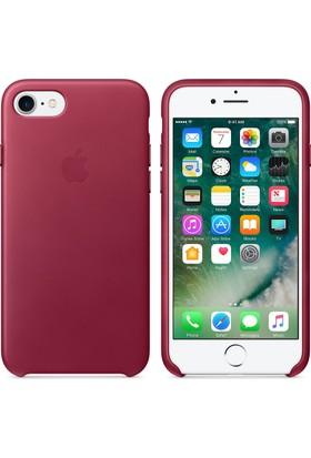 Apple iPhone 7 / 8 Deri Kılıf - Ahududu - MMY62ZM/A (İthalatçı Garantili)