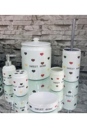 Eva Porselen Sweet Home 7 Parça Porselen Banyo Seti