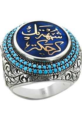 Byeler Mavi Mineli Arapça Yazılı Elif Vav Figürlü Erkek Yüzüğü 925 Ayar Gümüş 27