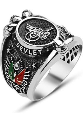 Byeler Tuğra Ve Devlet Armalı Erkek Yüzüğü 925 Ayar Gümüş 26