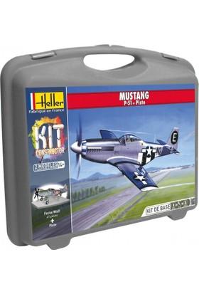 Mustang P-51D Ve Pist Zemini, Heller 1/72 Ölçek Plastik Maket Seti