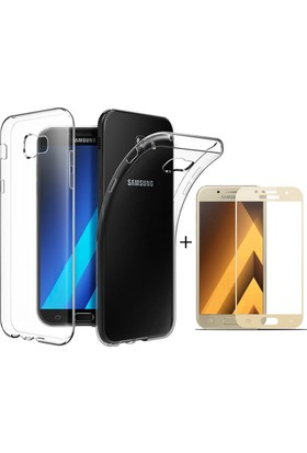 Case 4U Samsung Galaxy A7 2017 Kılıf Silikon + Tam Kaplayan Cam Ekran Koruyucu Altın
