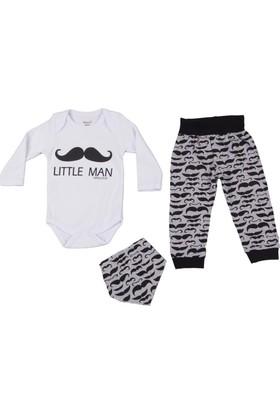 Malkoç Little Man Bıyık Desenli Body Takım