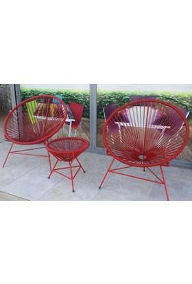 Neodesign Rattan Sandalye Kırmızı Takım