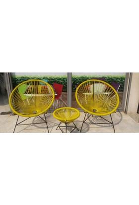 Neodesign Rattan Sandalye Sarı Takım