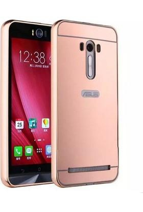 Case 4U Asus Zenfone 2 Laser 5.5 Kılıf Aynalı Metal Bumper Rose Gold