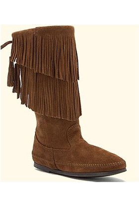 Minnetonka Dusty Brown 1688 Minnetonka Calf Hi 2-Layer Fringe Boot Çizme