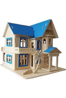 İdeal 3D Büyük Ahşap Maket Mavi Ev