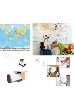 Neon Akıllı Beyaz Kağıt Yazı Tahtası 2 Adet 120x200 Statik Kağıt Tahta + Tahta Kalemi + Yazı Tahtası Silgisi + Mep 70x100 Türkiye Haritası