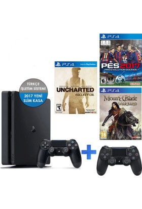 Sony Ps4 500Gb Konsol+ Pes 17 + Uncharted C + Mount Blade + 2 Kol