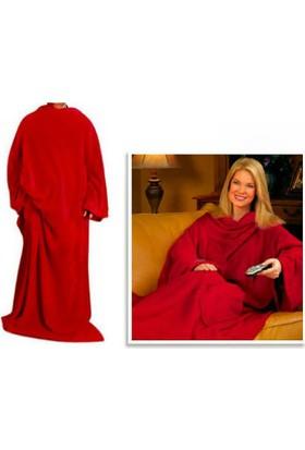 Wildlebend Giyilebilir Kollu Battaniye - Kırmızı