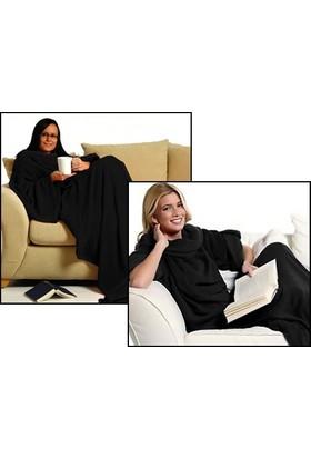 Wildlebend Giyilebilir Kollu Battaniye - Siyah