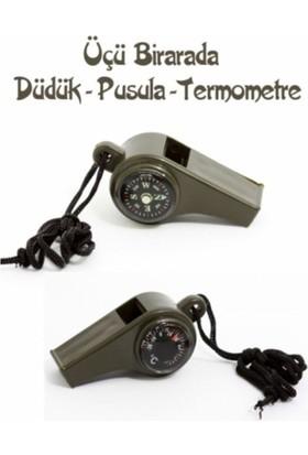 Wildlebend Pusulalı Termometreli Düdük - Survival Askılı Düdük