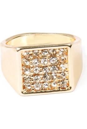 Modex Altın Kaplama Taş Detaylı Serçe Parmağı Yüzüğü