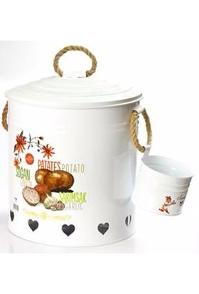 Yargıcı Porselen Jumbo Bölmeli Patates-Soğan Set-Beyaz