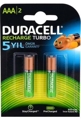 Duracell 1.2V 850 Mah Aaa Şarjlı İnce Kalem Pil 2Li Recharge Turbo