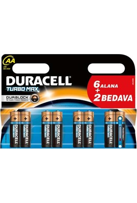 Duracell Turbo Max Aa Size 6+2 Kalem Pil 8Li Paket