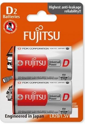 Fujitsu Universal Power Lr20 Alkaline Büyük Boy D Size Pil 2Li Blister