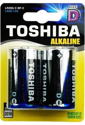 Toshiba Lr20G C Bp-2 Alkalin 1.5V D Size Büyük Boy Pil 2Li Blister