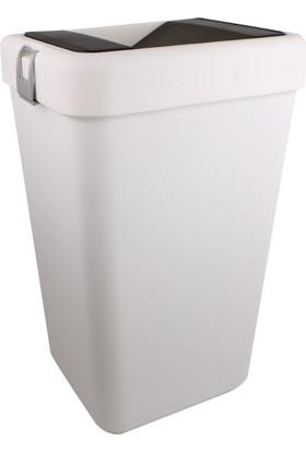Bauboss 40 Lt. Hassas Kapak Çöp Kovası (Beyaz)