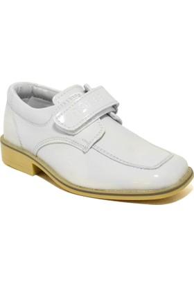 Raker Beyaz Rugan Cırt Cırtlı Klasik Erkek Bebek Sünnet Ayakkabı