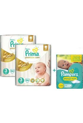 Prima Bebek Bezi Premium Care Dev Ekonomi 2'li Paket 3 Beden 172 Adet+ Alt Değiştirme Örtüsü