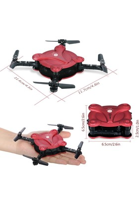 Fq777 Fq17W Wifi Cep Telefonu Kontrollü 720P Fpv Kamera Mini Drone - Kırmızı