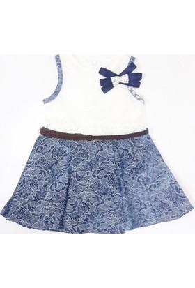 Moonstar Dantel İşlemeli İnci Fiyonklu Kız Çocuk Elbise