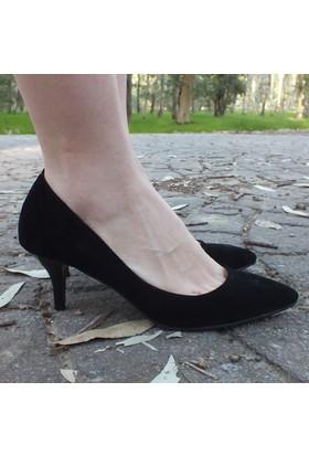ModaBuymuş Süet Kısa Topuklu Stiletto Ayakkabı