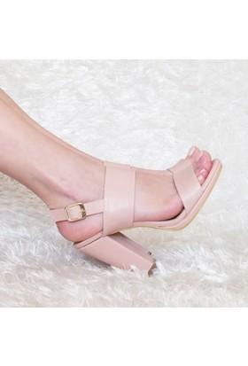 ModaBuymuş Kalın Tek Bantlı Platform Topuk Kadın Ayakkabı