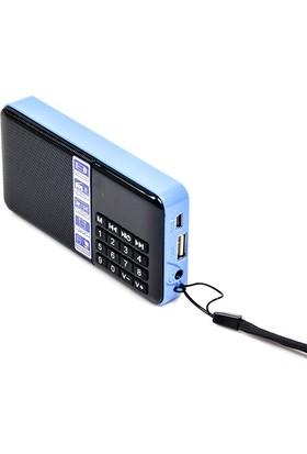 Hobimtek Antensiz Portatif Metal Kasa Mp3 Çalar Şarjlı Radyo Player Usb - Mavi