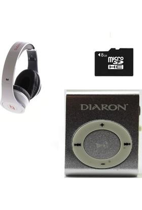 Diaron Drn 114 Mp3 Player + 8 Gb Hafıza Kartı + Subzero Beyaz Kulaklık