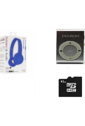 Diaron Drn 114 Mp3 Player + 8 Gb Hafıza Kartı + Subzero Mavi Kulaklık