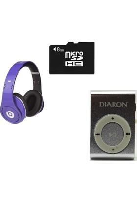 Diaron Drn 114 Mp3 Player + 8 Gb Hafıza Kartı + Subzero Lila Kulaklık
