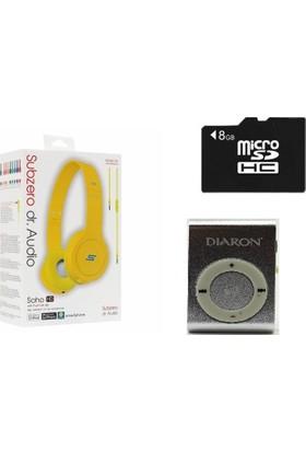 Diaron Drn 114 Mp3 Player + 8 Gb Hafıza Kartı + Subzero Kırmızı Kulaklık