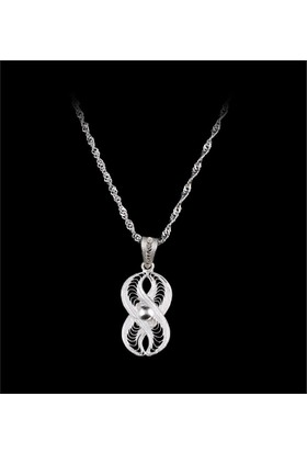 Akyüz Gümüş Sonsuzluk İşlemeli Telkari Gümüş Kolye Klt008