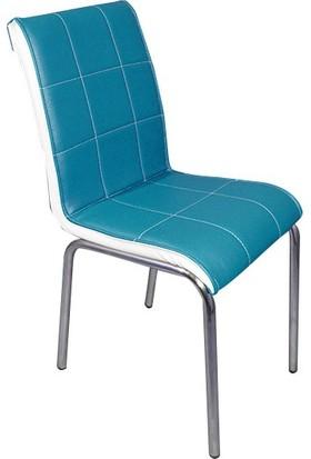 Mavi Mobilya Sandalye Turkuaz Suni Deri (6 Adet)