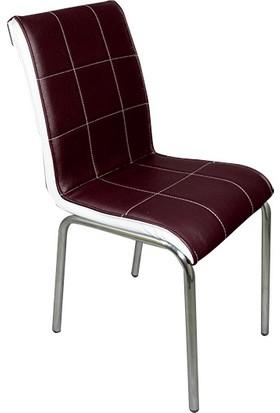 Mavi Mobilya Sandalye Kahverengi Suni Deri (6 Adet)