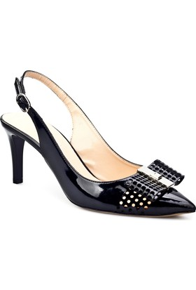 Cabani Fiyonklu Stiletto Günlük Kadın Ayakkabı Siyah Rugan