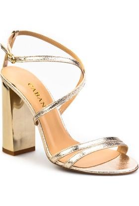 Cabani Çapraz Bağ Topuklu Günlük Kadın Ayakkabı Altın Rengi Deri