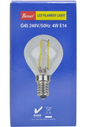 Benar G45 - 4W Led Filament Rustik Ampul (Sarı Işık) E14