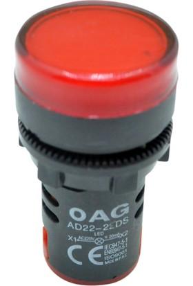 Oag Ledli Sinyal Lambası Q22Mm 220V (Kırmızı)