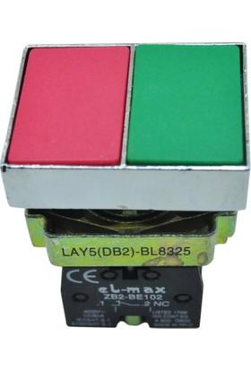 El-Max Lay5 (Db2) Bl8325 İkiz Buton Q22 1No+1C (Kırmızı+Yeşil)